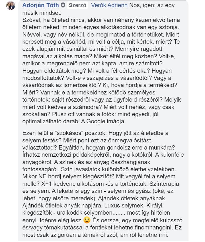 Blogposzt témaötletek Verók Adrienn részére - Tóth Adorján, SEOtudatos szövegíró